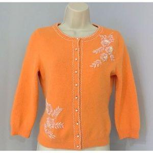 BANANA REPUBLIC Embellished Cotton Angora Cardi